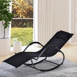 Outsunny Espreguiçadeira de jardim Cadeira de balanço com braços para exterior Preto