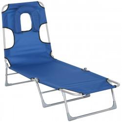 Outsunny Espreguiçadeira de jardim reclinável e dobrável com orifício de leitura, apoio de cabeça e encosto ajustável em 5 níveis 182x56x24,5 cm azul