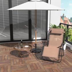 Outsunny Espreguiçadeira dobrável de jardim Cadeira de gravidade zero Poltrona de praia relaxante Textilene Estrutura de aço Carga 150kg 90x65x110 cm Bege