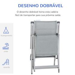 Outsunny Espreguiçadeira dobrável para jardim Cadeira ajustável de 10 posições com encosto alto e apoio para pés carga máx. 150 kg 78x58x110 cm Cinza
