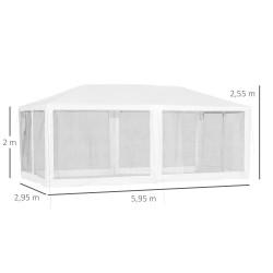 Outsunny Gazebo do jardim Pavilhão 6x3m com 6 paredes de malha removível com zíper e teto da catedral Branco