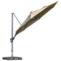 Outsunny Guarda-sol de alumínio de 300 cm Proteção UV 50+ 360 ° Giratório com manivela e luzes LED Painel solar teto reclinável base cruzada branca