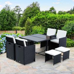 Outsunny Mobília de jardim de rattan ajustada com 9 partes - preto e branco - poliéster de aço