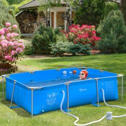 Outsunny Piscina Desmontável Tubular 291x190x75cm com Depuradora de Cartucho Piscina Retangular de Exterior para Adultos e Crianças 3600L Azul