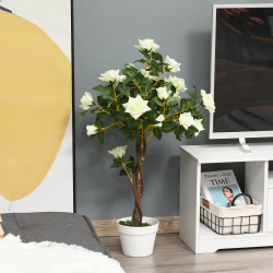 Outsunny Planta artificial de 90 cm Rosa branca realista com 21 flores e 350 folhas Pote de cimento incluído para interior e exterior