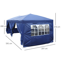 Outsunny Tenda Pérgula de jardim com janelas e cortinas - Azul escuro - Tecidos de poliéster e tubos de aço - 6x3m - 18m2