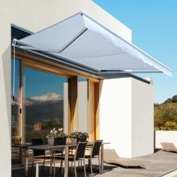 Outsunny Toldo Manual Dobrável de Alumínio Ângulo ajustável com manivela para varanda exterior jardim terraço 2.95x2.5m branco