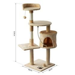 PawHut® Árvore de gato com plataformas Cabines Bolas de jogo bege 40x40x114cm