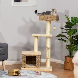 PawHut Árvore arranhador para gatos com plataformas, caverna, camas, bolas de jogo e postes de sisal 60x40x109 cm bege e marrom