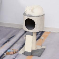 PawHut Árvore para gato com bola pendurada caverna macia postes para arranhar 30x30x50 cm Cinza