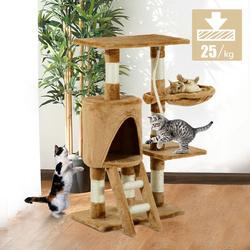 PawHut Árvore para gatos com Corda de Brincar Placa de Madeira e Revestido de Pêlo- Castanho - 30x55x96cm