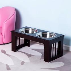 PawHut Comedouro elevado para cães com 2 tigelas removíveis de aço inoxidável 58,4x30,5x25,4 cm marrom escuro