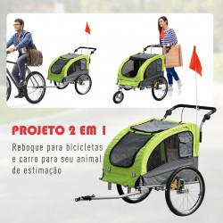 PawHut Reboque Bicicleta Cães Carro Carrinho para Transporte Mascote 2 em 1 com Barra de Passeio Amortecedor Roda Giratória 360º Refletores Carga Máx. 40kg - 130x90x110cm