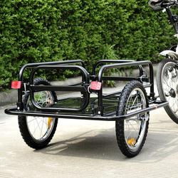 PawHut Reboque Trailer de bicicleta para carga de 450 kg Carregamento de Bagagem Armação de aço Leve com refletores 145x70x49cm