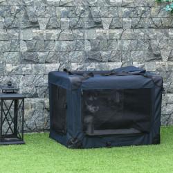 PawHut Transportadora para animais deestimação Portátil e Transpirável Dobrável com Almofada 3 Portas e Janela de Malha 2 Bolsos 80,5x57x57cm Azul Escuro
