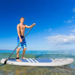 Prancha de surf inflável com remo ajustável Almofada antideslizante e acessórios completos Máx. 120 kg 305x80x15 cm Azul Branco