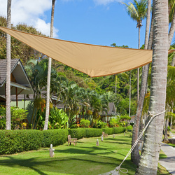 Toldo Vela Triângulo Guarda-sol para Varanda Jardim e Campismo - Cor: Areia - Polietileno - 3 x 3 x 3 m