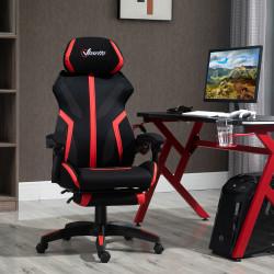 Vinsetto Cadeira de Gaming com Apoio para os Pés Retrátil Cadeira de Escritório Reclinável com Apoio para a Cabeça e Altura Ajustável 65x65x119-129cm Preto e Vermelho
