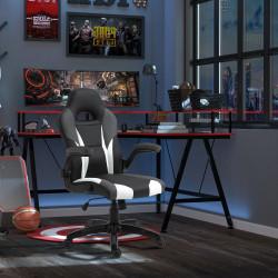 Vinsetto Cadeira gaming ergonômica para escritório giratória 360 ° com braços eleváveis 68x66x114-124 cm Preto