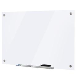 Vinsetto Placa de vidro magnético com bandeja Inclui 4 marcadores e borracha 90x60x0,45 cm Branco