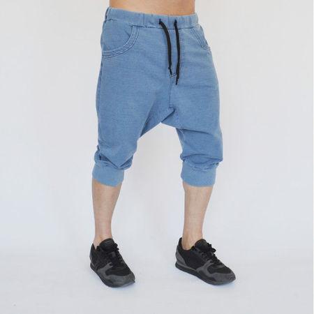 Men's blue denim joggers drop crotch shorts