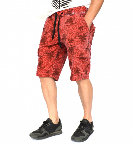 Men's Floral Motifs sweat shorts OIL DYE RED