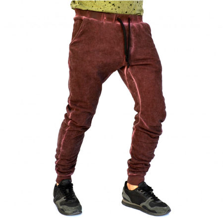 PANTALONI DE TRENING BARBAȚI TAPERED SLIM FIT PURPLE OIL DYE MATLASAT TOAMNĂ/IARNĂ
