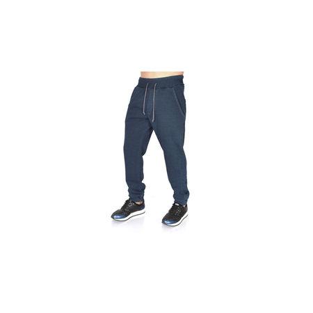 Men's dark blue denim joggers sweatpants FALL/WINTER WARM