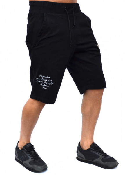 BLACK RUGBY MENS EMBROIDERED SWEATSHORTS