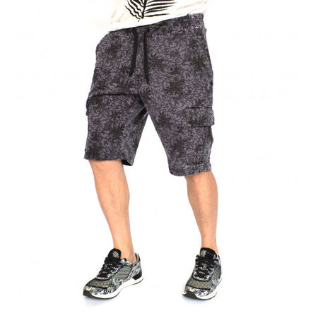 Men's Floral Motifs sweat shorts OIL DYE GREY