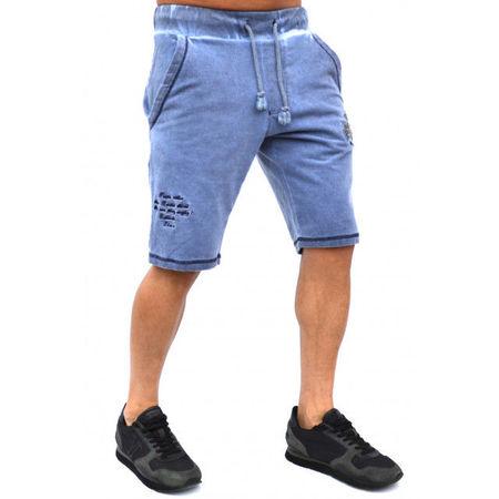 Herren Jogginghose Shorts mit Wascheffekt Rugby StyleMENS EMBROIDERED BLUE OIL DYE RUGBY SWEAT SHORTS