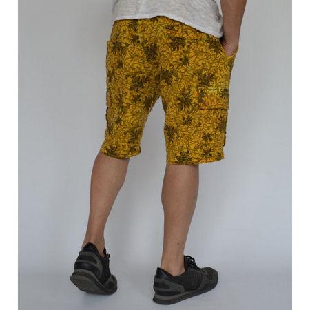 Men's Floral Motifs sweat shorts CARGO YELLOW OIL DYE