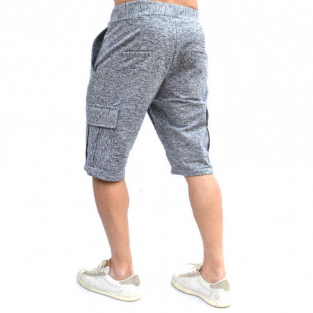 MENS GREY CARGO SHORTS WITH BLUE PRINT