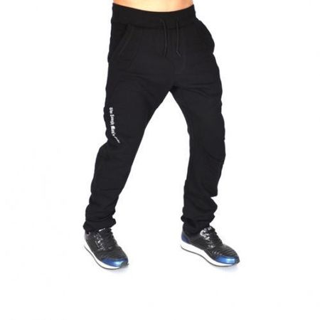 BLACK EMBROIDERED TAPERED SLIM SWEAT PANTS SLIM FALL/WINTER
