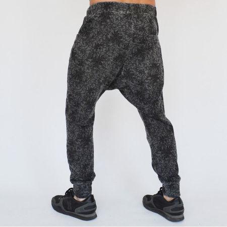 Men's Grey oil dye Floral Motifs joggers drop crotch sweat pants SPRING