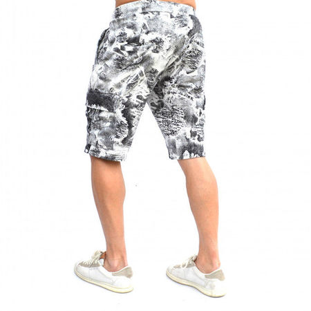 MENS WHITE CARGO SHORTS WITH BLACK PRINT