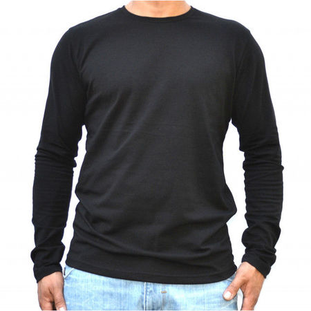 BLACK MENS TSHIRT LONG SLEEVE