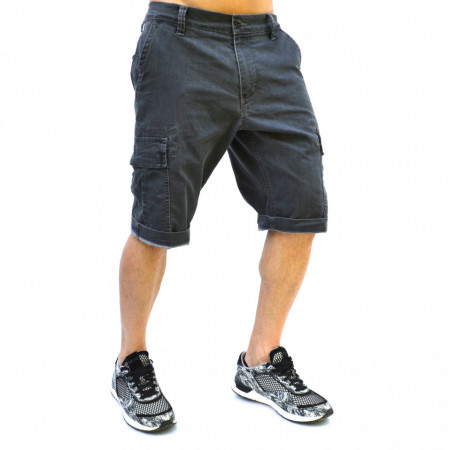 MENS DENIM CARGO SHORTS GREY