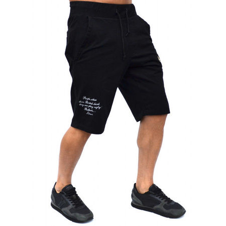 BLACK RUGBY MENS EMBROIDERED SWEAT SHORTS