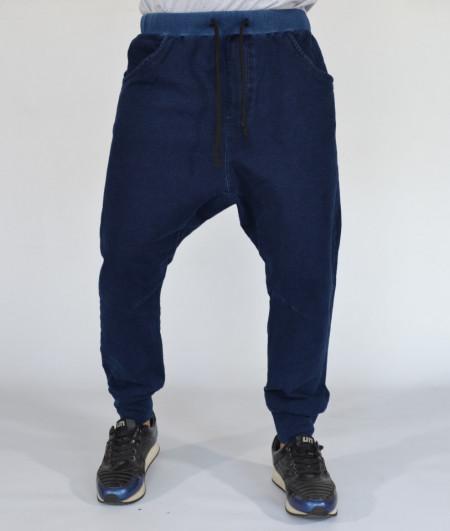 Men's dark blue denim joggers drop crotch sweat pants SPRING/FALL