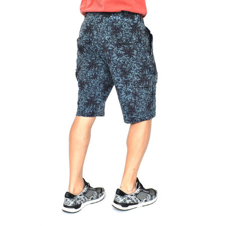 Men's Floral Motifs sweat shorts OIL DYE BLUE