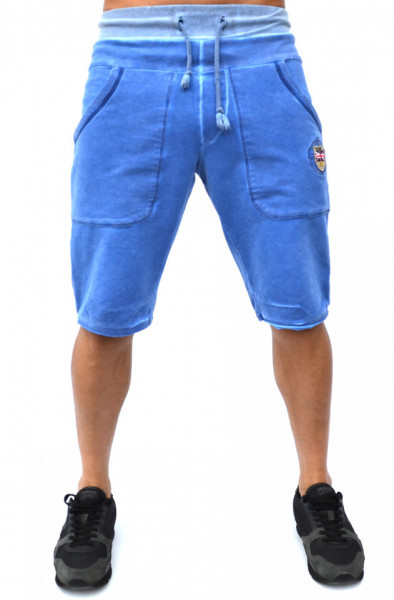 ELECTRIC BLUE OIL DYE MENS SWEAT SHORTS
