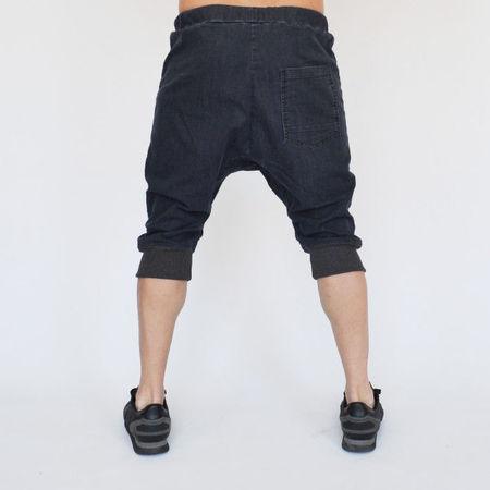 Men's denim drop crotch shorts front pockets