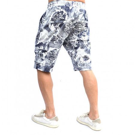 MENS WHITE CARGO SHORTS WITH BLUE PRINT