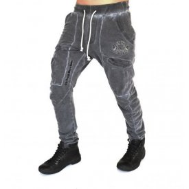 GREY OIL DYE TAPERED CARGO SLIM SWEATPANTS SLIM FALL/WINTER WARM
