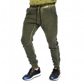KHAKI OIL DYE Sweat Pants TAPERED SLIM FIT FALL/WINTER WARM