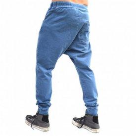 Men's blue denim joggers drop crotch sweat pants SPRING/FALL