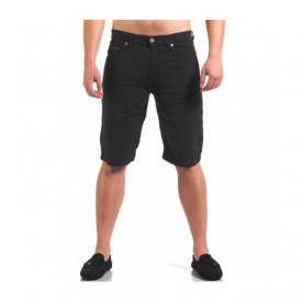 BLACK LINEN MENS SHORTS