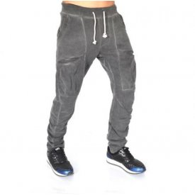 GREY OIL DYE TAPERED GARCO SLIM SWEAT PANTS SLIM FALL/WINTER