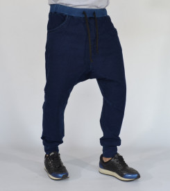 Men's dark blue denim joggers drop crotch sweat pants SPRING/FALL